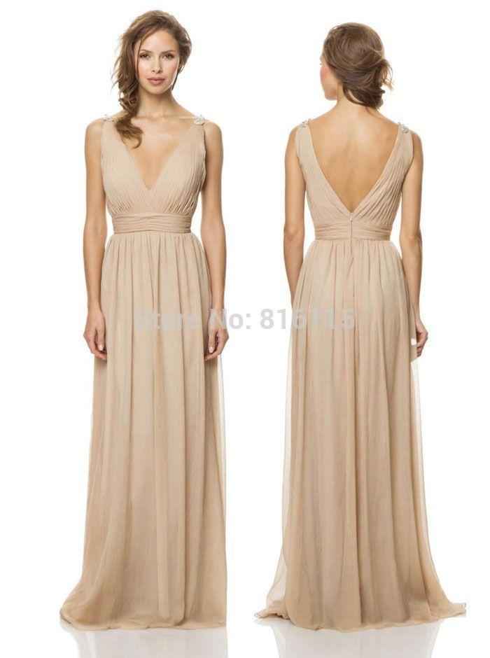 cream colored floor length bridesmaid dresses | ... Dress-Chiffon-V ...