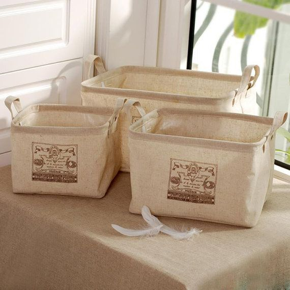 Large Cotton Linen Storage Baskets, PE Water Proof Storage Buckets, Clothes  Socks Storage Box