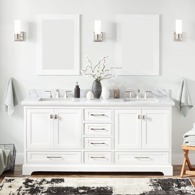 72 Quen Double Vanity For Rectangular Undermount Sinks White Double Sink Vanities B White Vanity Bathroom Double Sink Bathroom Vanity Bathroom Furniture
