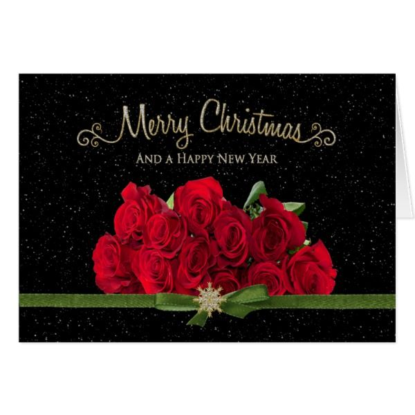 Christmas  Happy New Year - Red Roses - Snowing - Card #cards