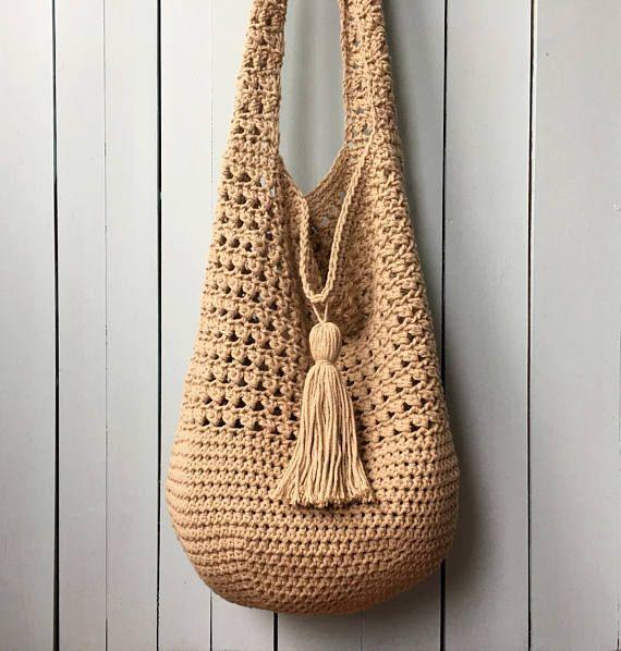 Crochet Tote Bag PATTERN, Bucket Bag Crochet Pattern, Boho Crochet, Boho Bag, Purse Pattern, Hand Bag, Slouchy Bag, Crochet Sac, Summer Tote