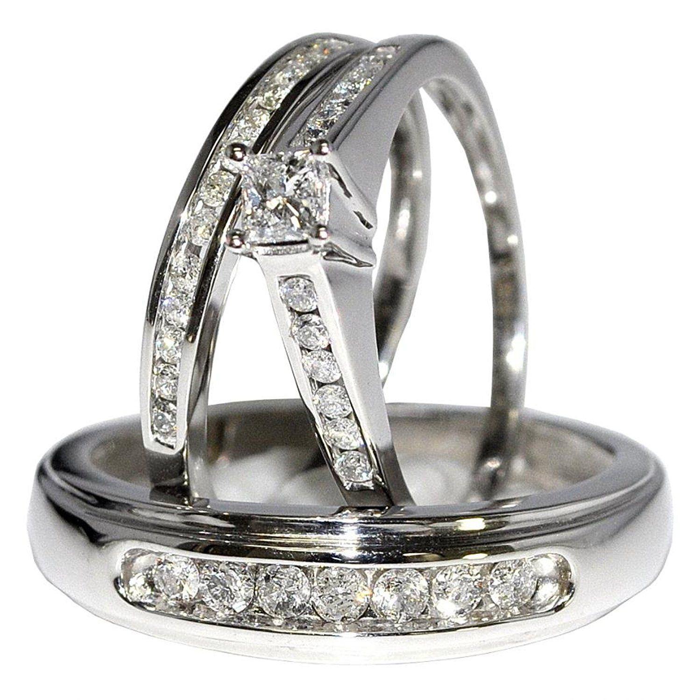 Bridal Trio Rings Set Princess Cut Diamonds 3 4cttw 10K White Gold