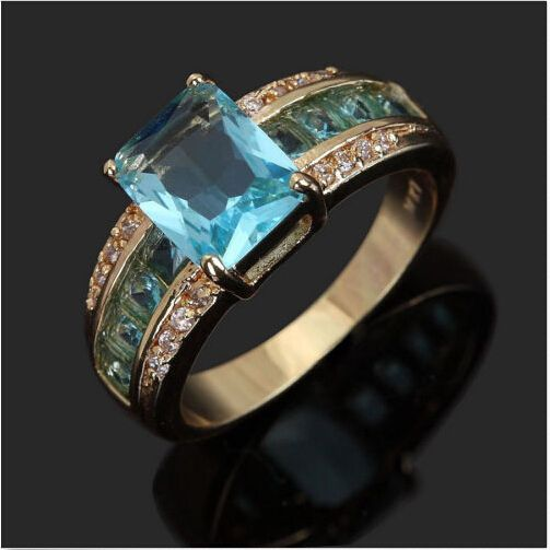 New Fashion Jewelry Man's Aquamarine 10KT yellow Gold Filled Ring-in Rings from Jewelry on Aliexpress.com | Alibaba Group