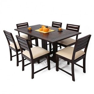Perfect If You Re Looking To Save Space Or Create More Space When You Have Guests Shop Cyril 6 Wooden Dining Table Set Buy Dining Table 6 Seater Dining Table