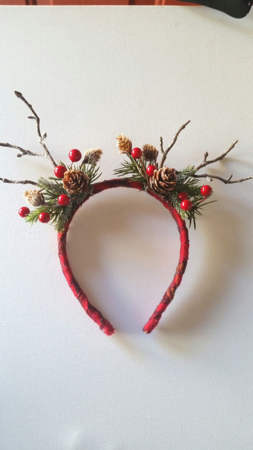 Christmas Headband Craft.Girls Woodland Reindeer Flower Headband Christmas Woodland