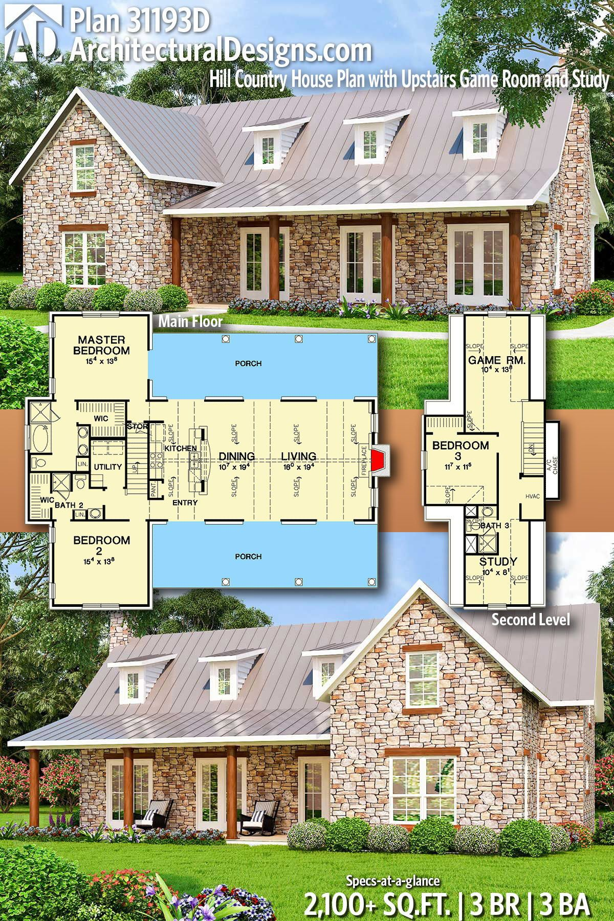 Plan 31193d Hill Country House Plan With Upstairs Game Room And Study Country House Plans Country House Plan Cottage Plan