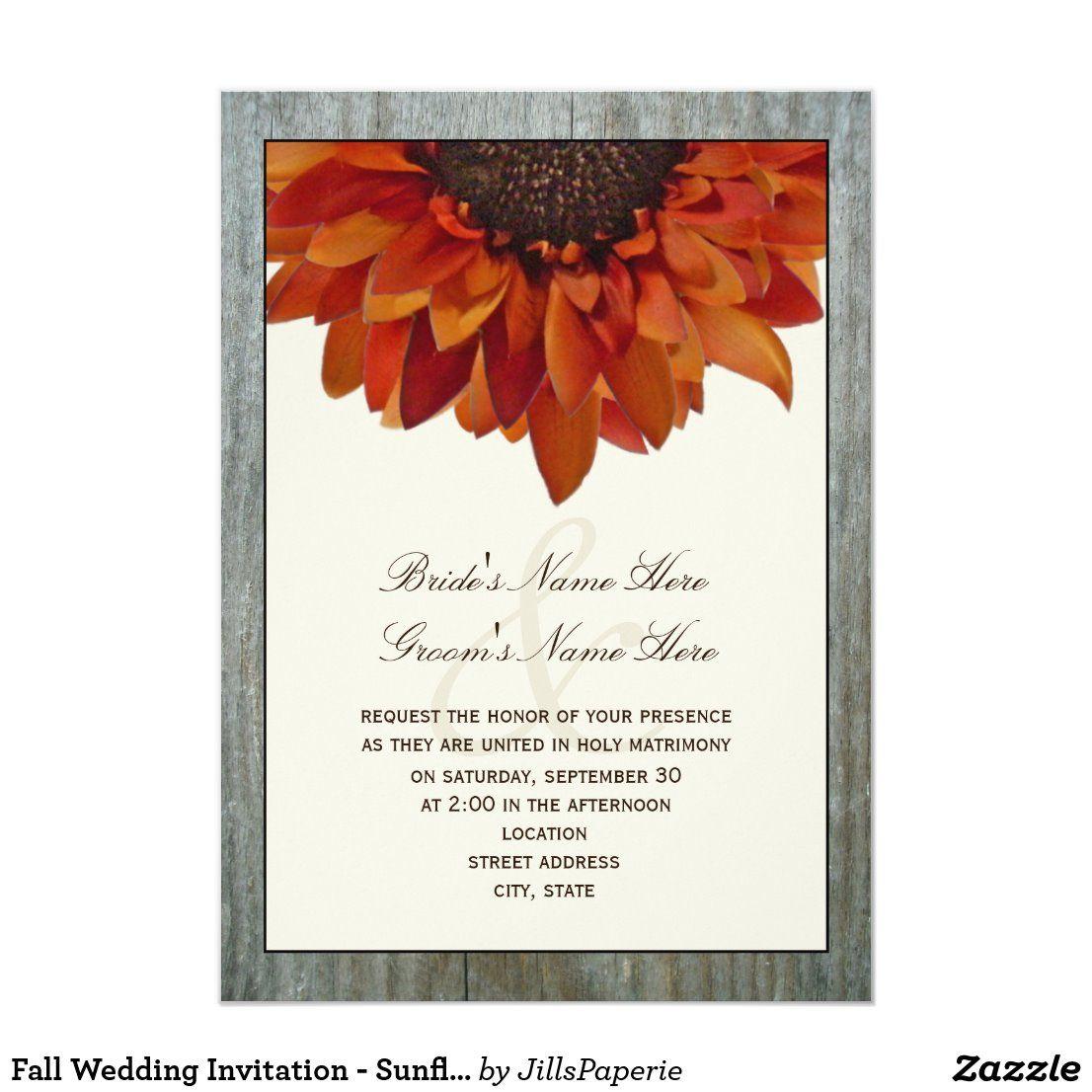Fall Wedding Invitation Sunflower & Barnwood Zazzle