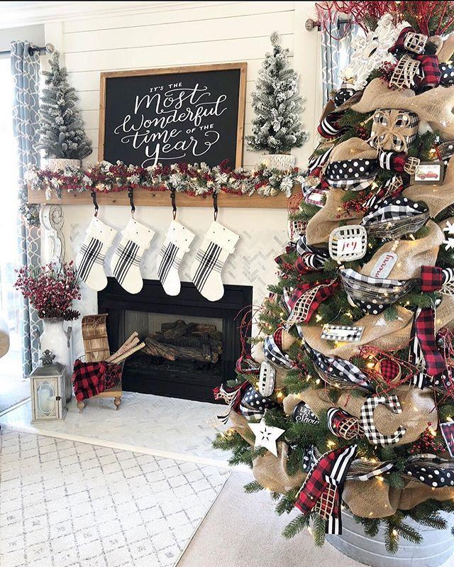My Buffalo Check Inspired Christmas Living Room. L