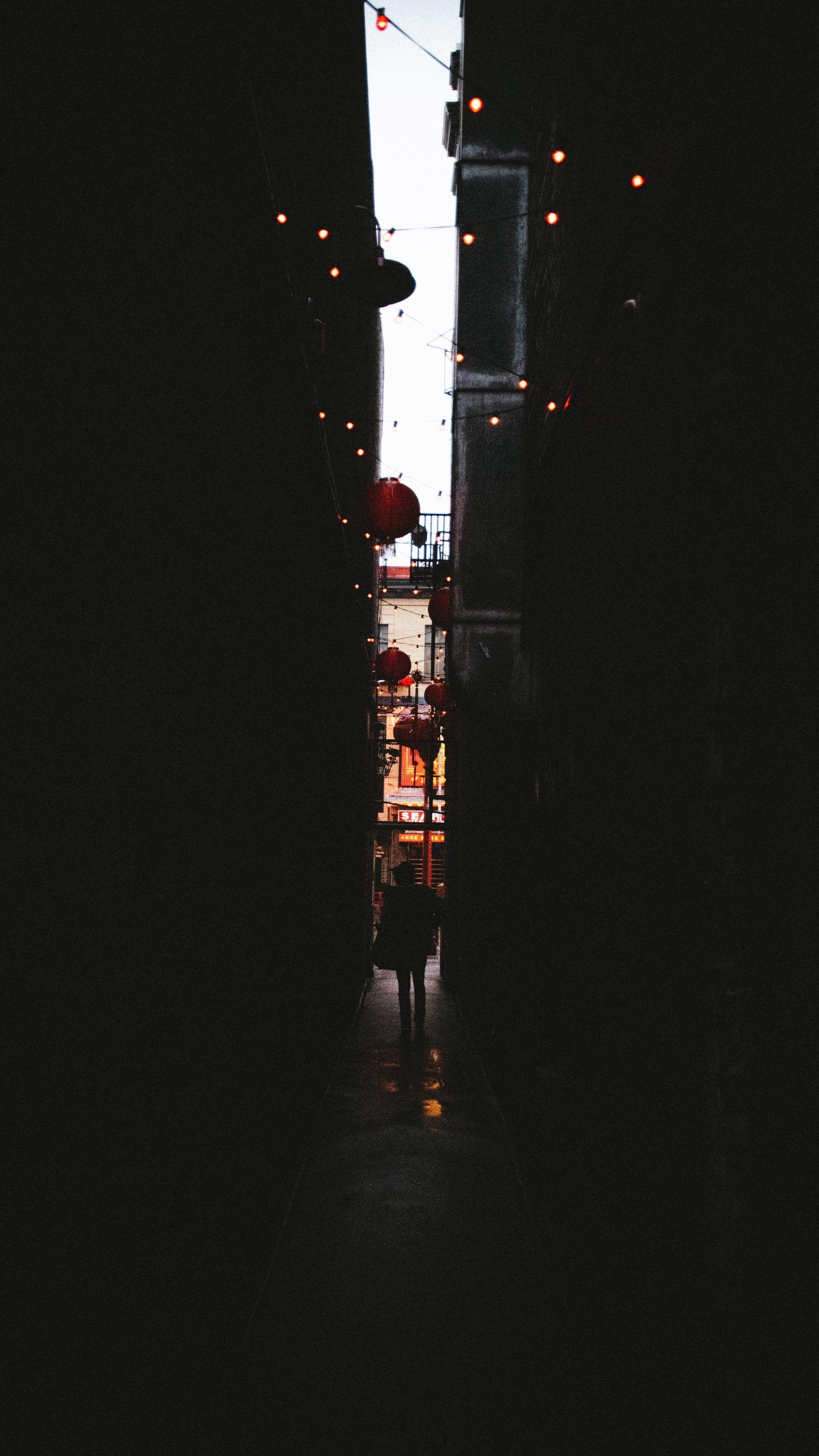 Download Iphone Xs Iphone Xs Max Iphone Xr Hd Wallpapers Alleyway Dark Silhouette Garland Lanterns Black Wallpaper Iphone Wallpaper Wallpapers Dark Dark wallpaper iphone xr