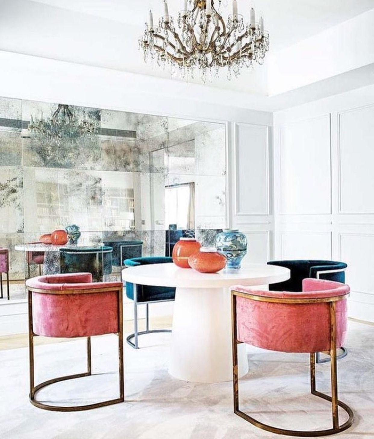 chic dining room in white pink and deep blue with a wall of rh pinterest com