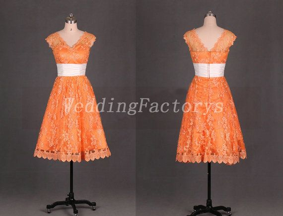 Short Burnt Orange Bridesmaid Dresses Sash V Neck Lace Dress Tea Length Prom Bridal Wedding Party