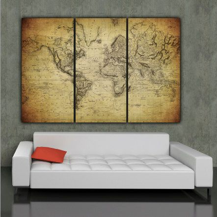 Your ticket on canvas 36x11x15 gallery wrap vintage maps world map art on canvas vintage map set for home by holycowcanvas gumiabroncs Gallery