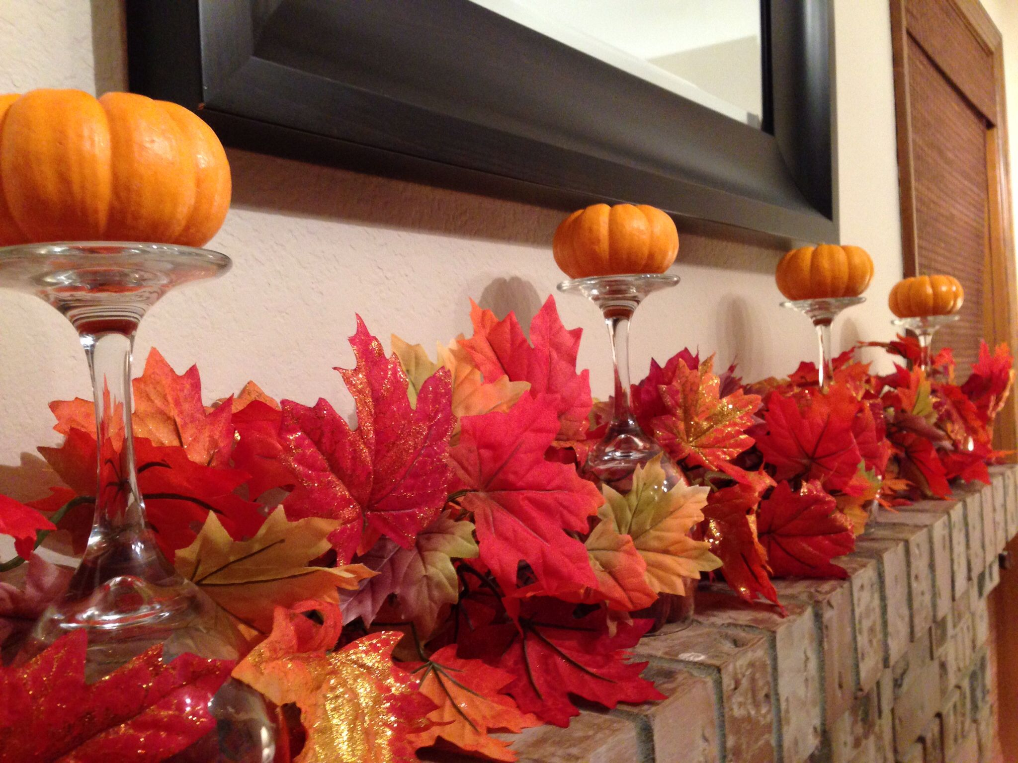 Fall decorations for fireplace mantle Fall fireplace