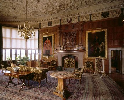 View of the oak drawing room at powis castle showing the for Muebles rafael palacios