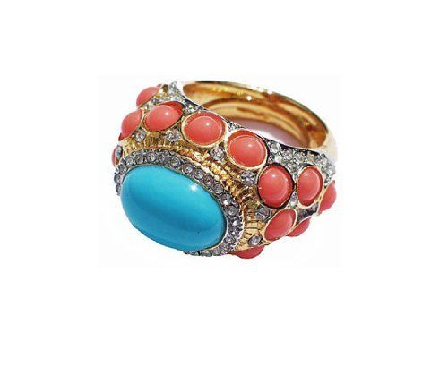 Kenneth Jay Lane Ring - Turquoise Coral Cabochon Cluster Kenneth Jay Lane, http://www.amazon.com/dp/B007V50ZCU/ref=cm_sw_r_pi_dp_3LQVqb02ZWB91