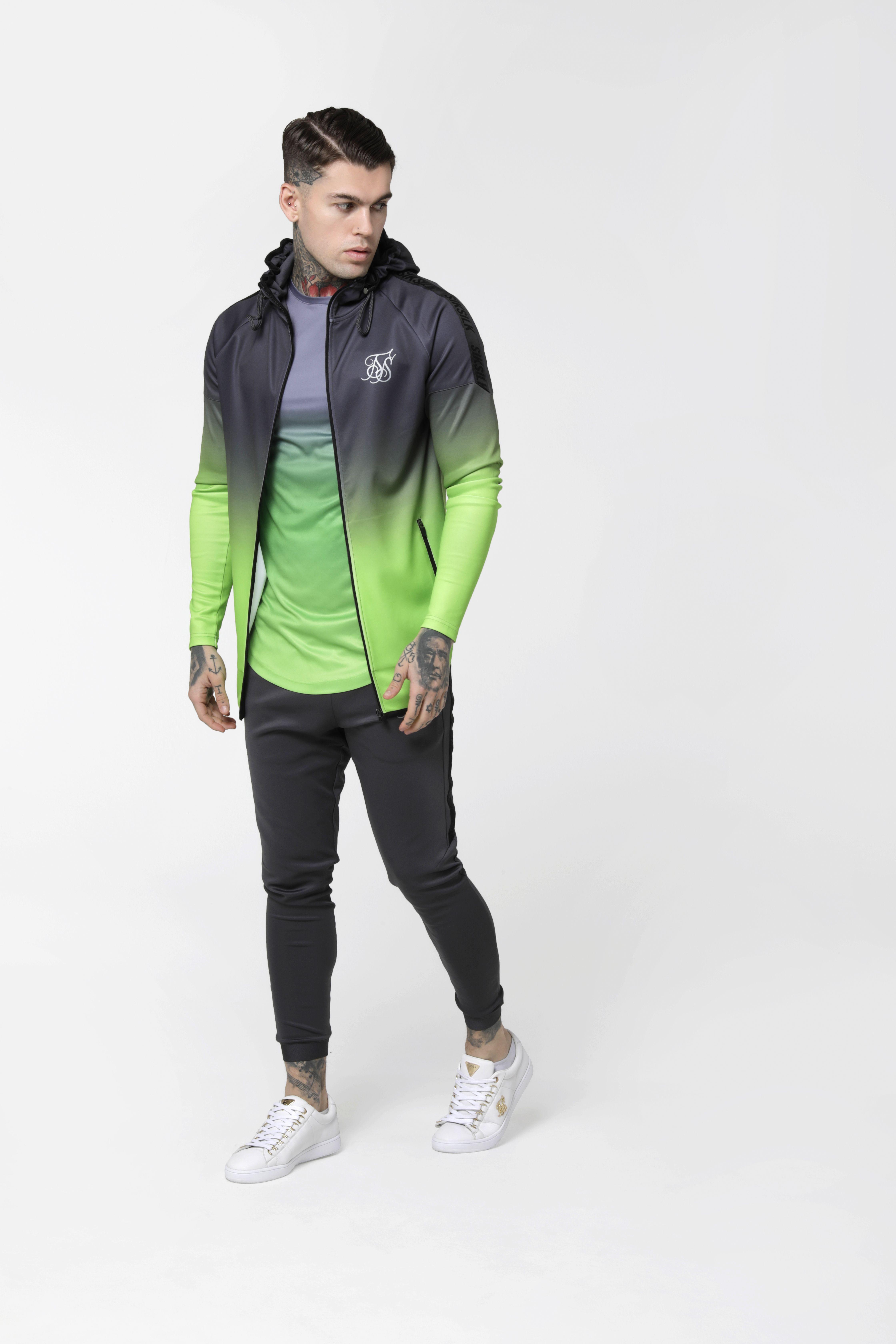 Raglan Athlete Fade Taped Hoodie Grey to Neon Green