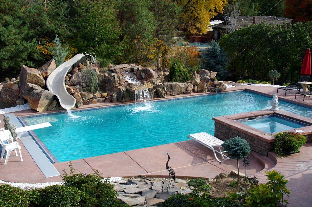 Swimming Pool Slide Rock Pool Slide Pool Slides G Force Slide By Interfab Inc Swimming Pool Slides Pool Pool Landscape Design