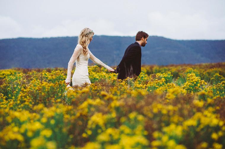 wildflower field, wedding