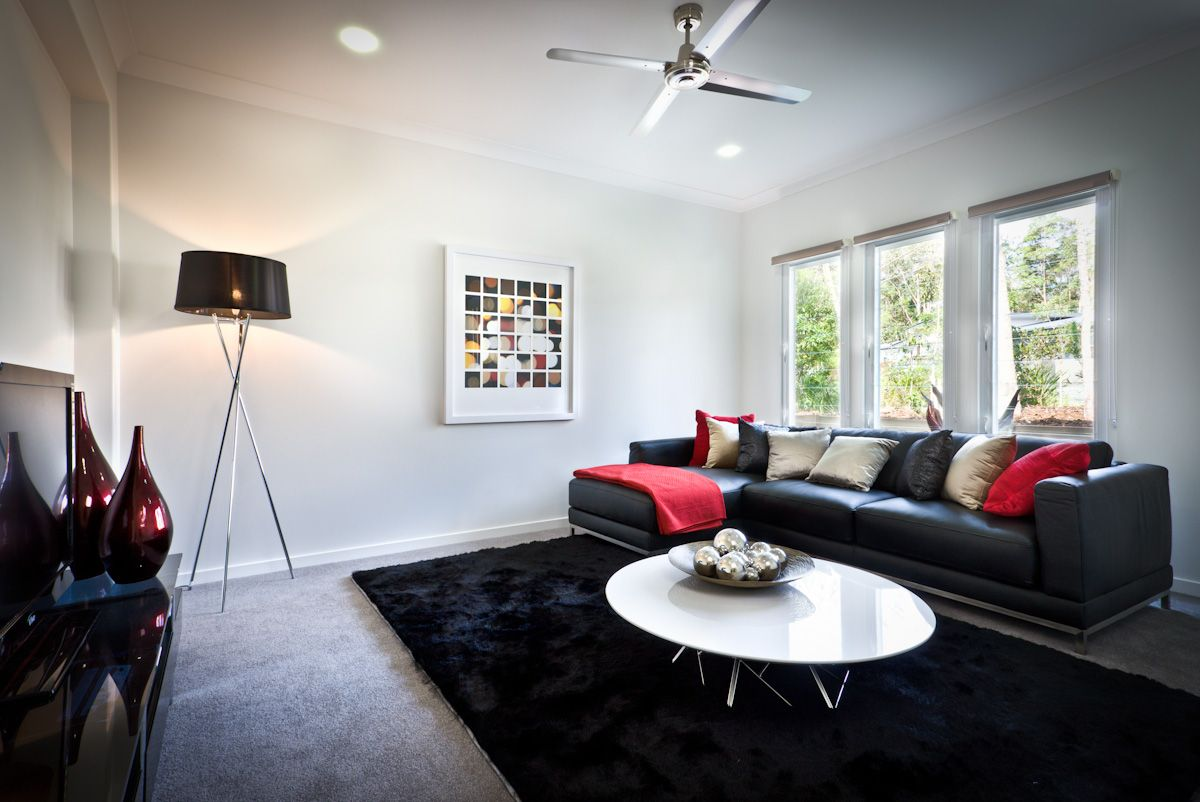 Black and red adds an element of class to this modern enternainment ...