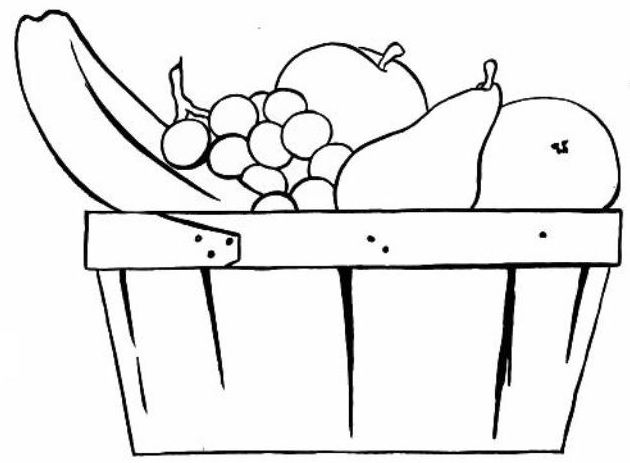 vintage basket of fruit colouring page http