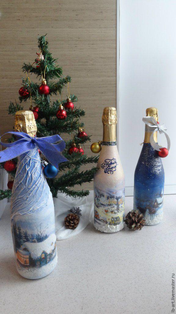 Купить или заказать Новогоднее шампанское. Декор бутылки в ...