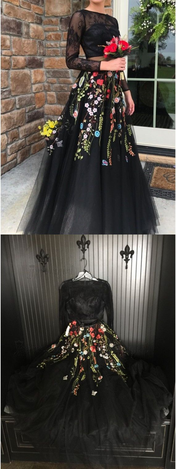 Two piece crew long sleeves black prom dress with lace appliques