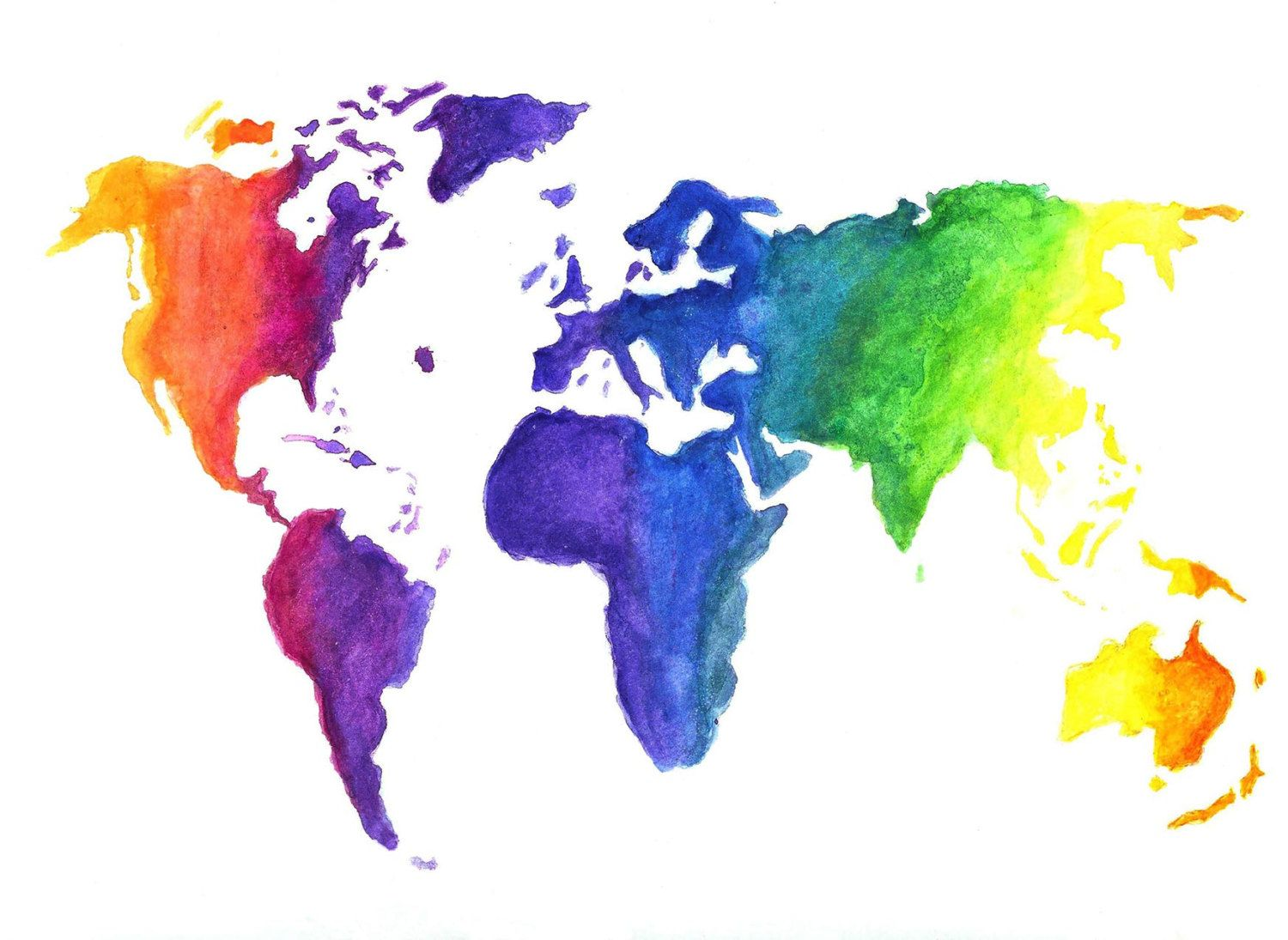Watercolor World Map Illustration Earth in Rainbow Colors by Zoia S