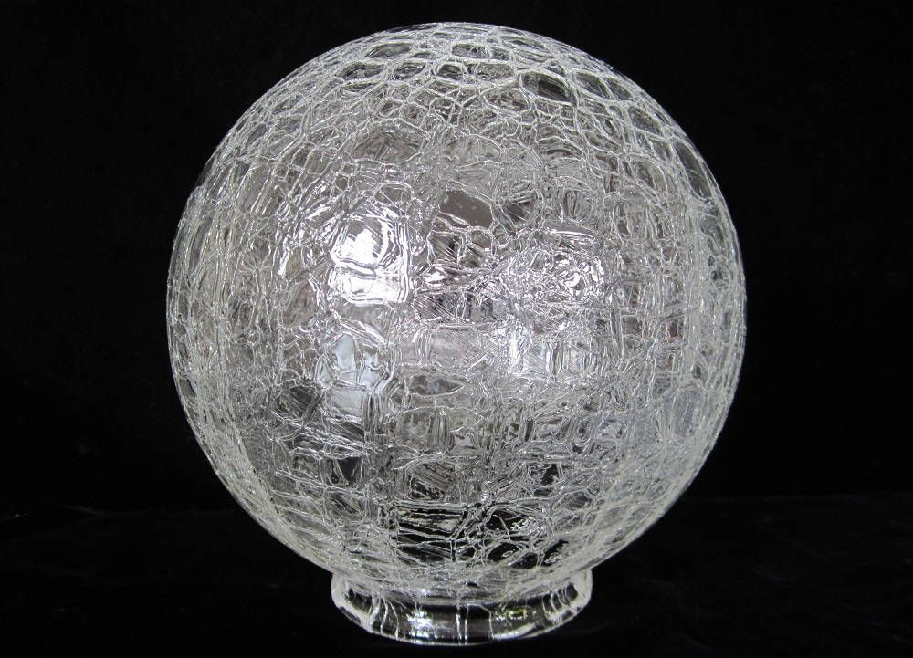"Crackle Glass Ball Shade 8"" Vintage Art Deco Frankart Era"