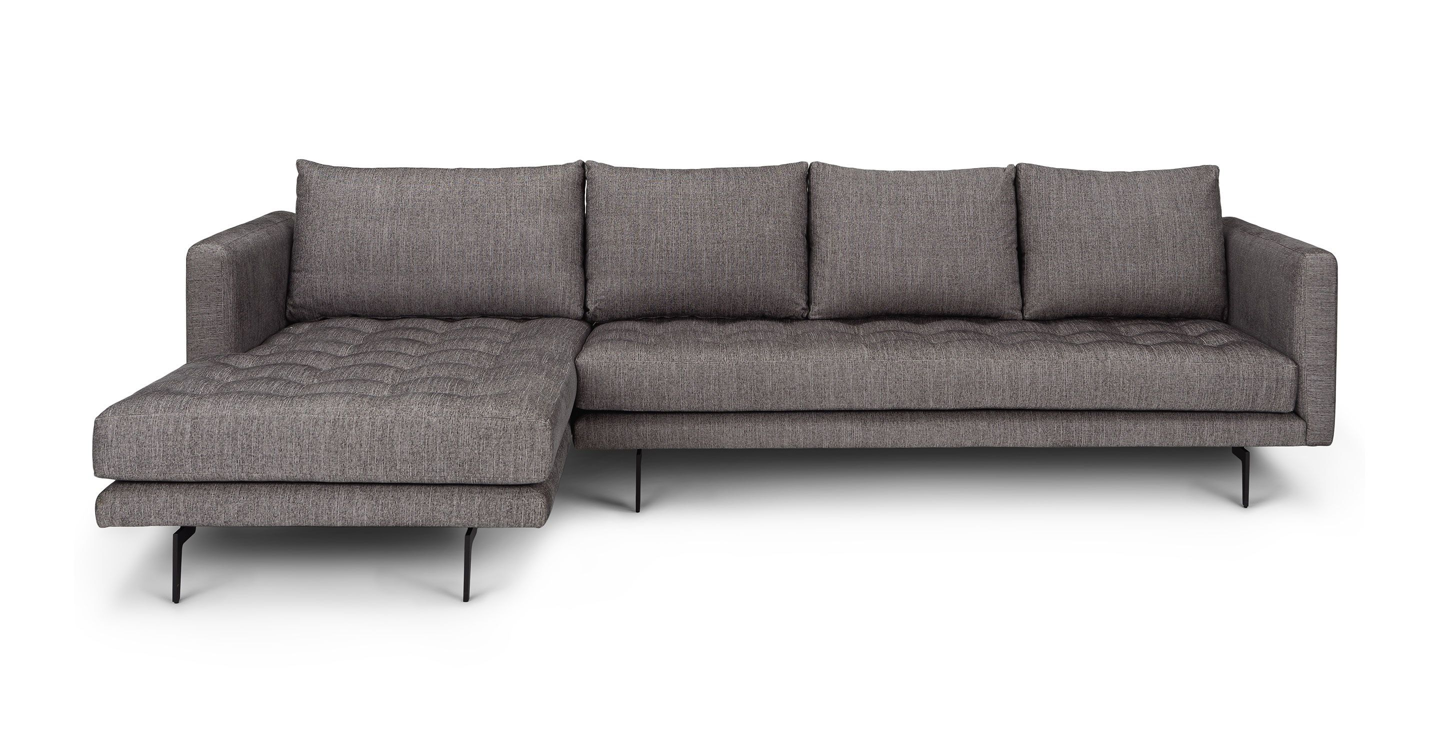Parker Black Pepper Left Sectional Sectionals Article Modern Mid Century And Scandinavian Mid Century Modern Sectional Sofa Sectional Contemporary Sofa