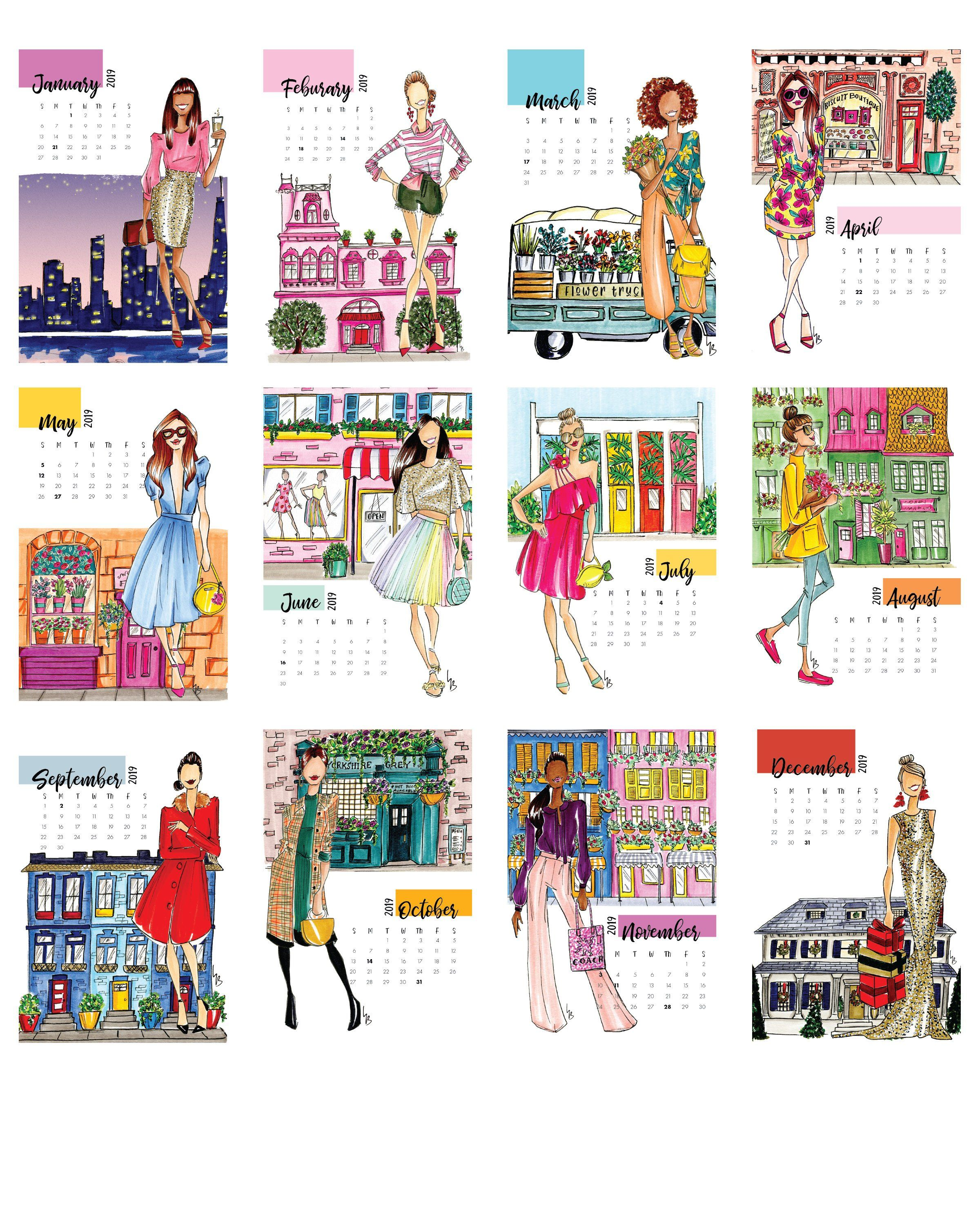 2019 Desk Calendar Fashion Calendar Illustration Calendar Fashion