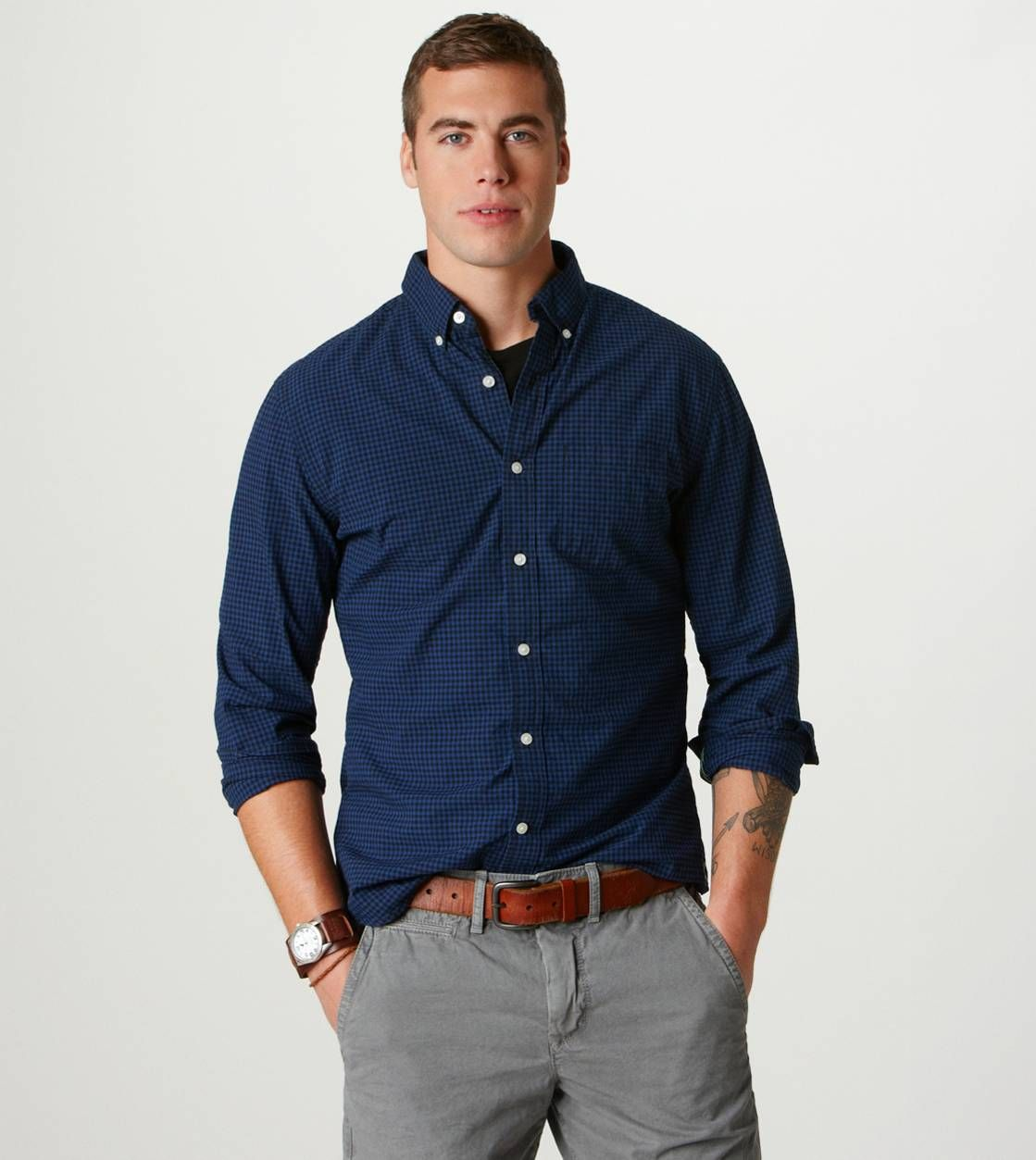 What Goes With Gray: AE Plaid Button-Down In Blue Goes Great With Grey Pants