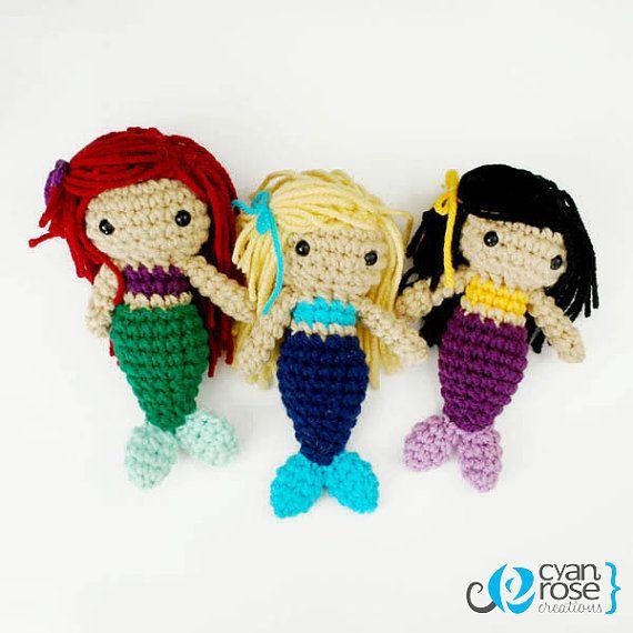 Three Mermaid Sisters Crochet Plush Dolls by CyanRoseCreations, $40.00