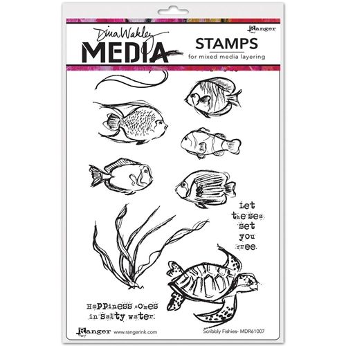 Dina Wakley SCRIBBLY FISHIES Media Cling Rubber Stamp