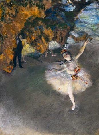 .A Star, vagy Dancer a színpadon • Edgar Degas, 1876-1877 {} pasztell.