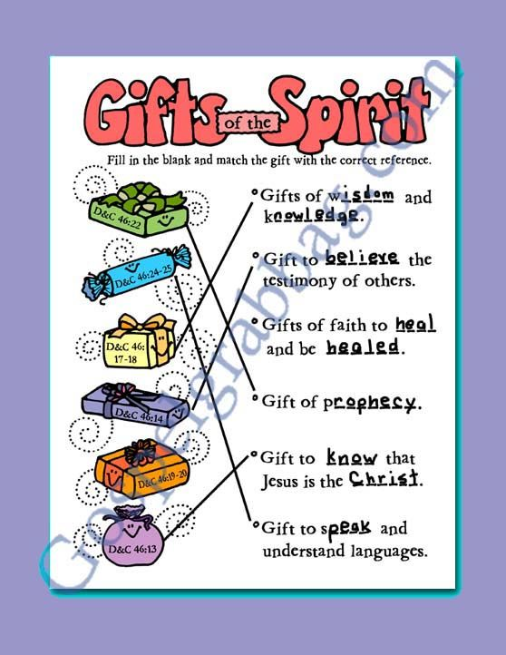 Spiritual Gifts Activity Gifts Match Game For Doctrine And Covenants Primary Lesson 19 The Saints Are Taught To Recognize Good And Evil Gospel Grab Bag Gifts Of The