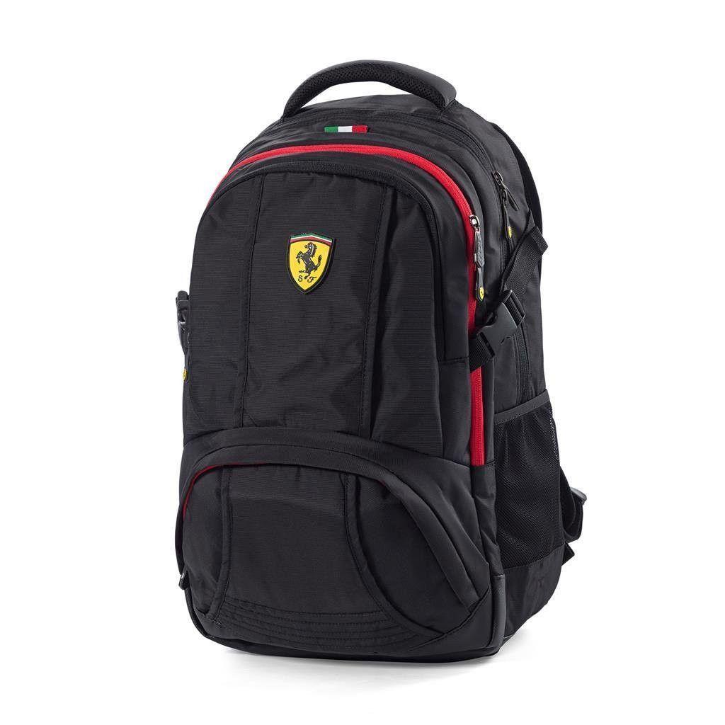 d8988217a Ferrari Black Sporty Backpack w/Scuderia Ferrari Logo Badge on Front of Bag