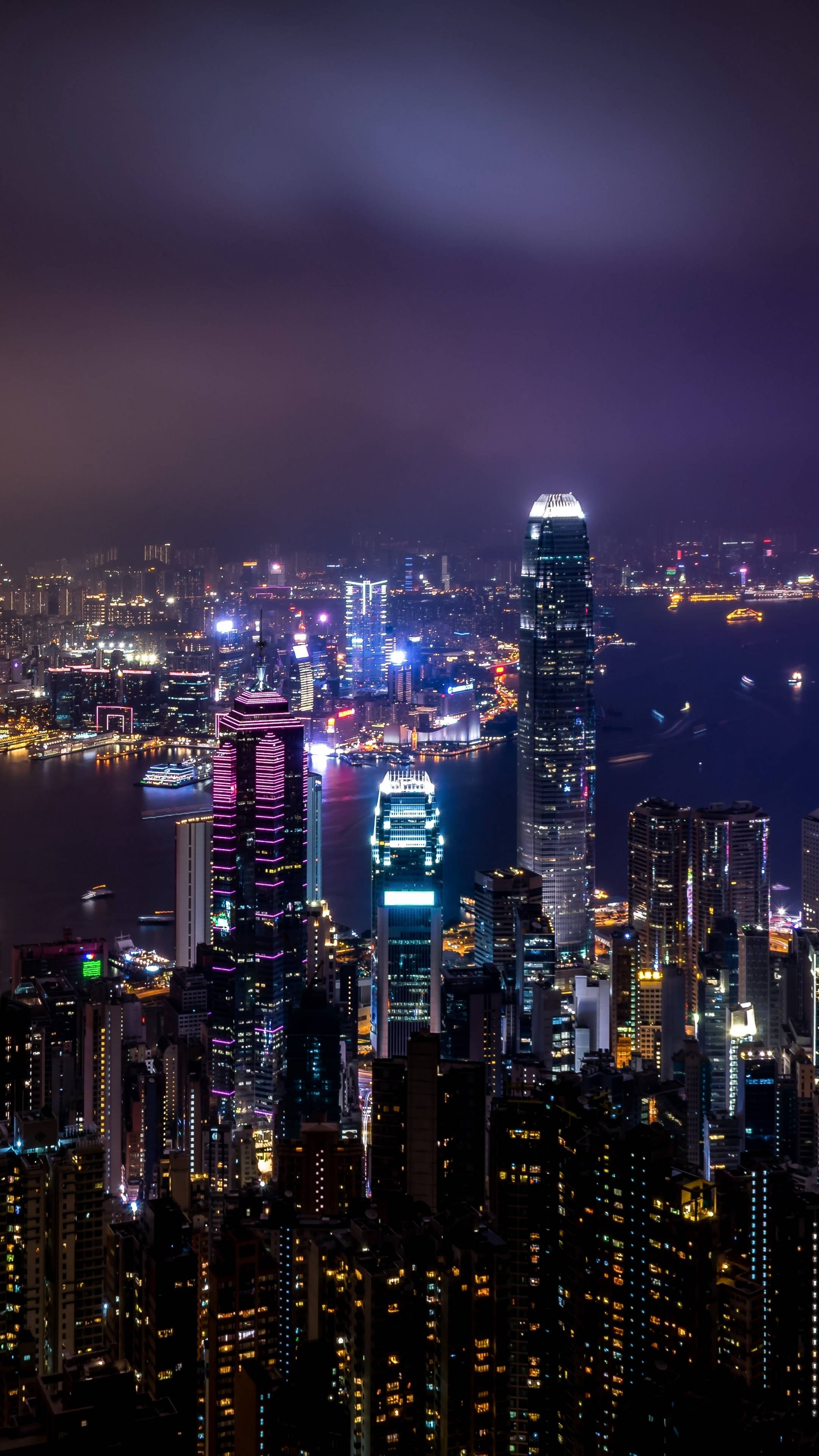 2160x3840 Hong Kong Skyscrapers At Night City Lights Wallpaper City Wallpaper China City