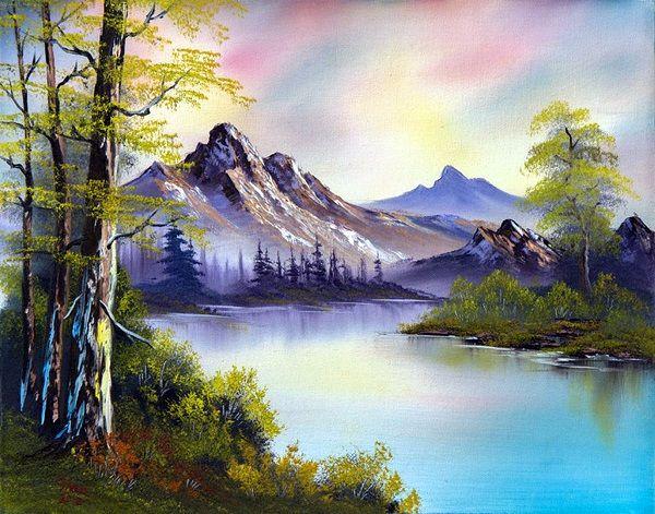 40 Beautiful Oil Pastel Paintings Oil Pastel Landscape Bob Ross Paintings Bob Ross Art