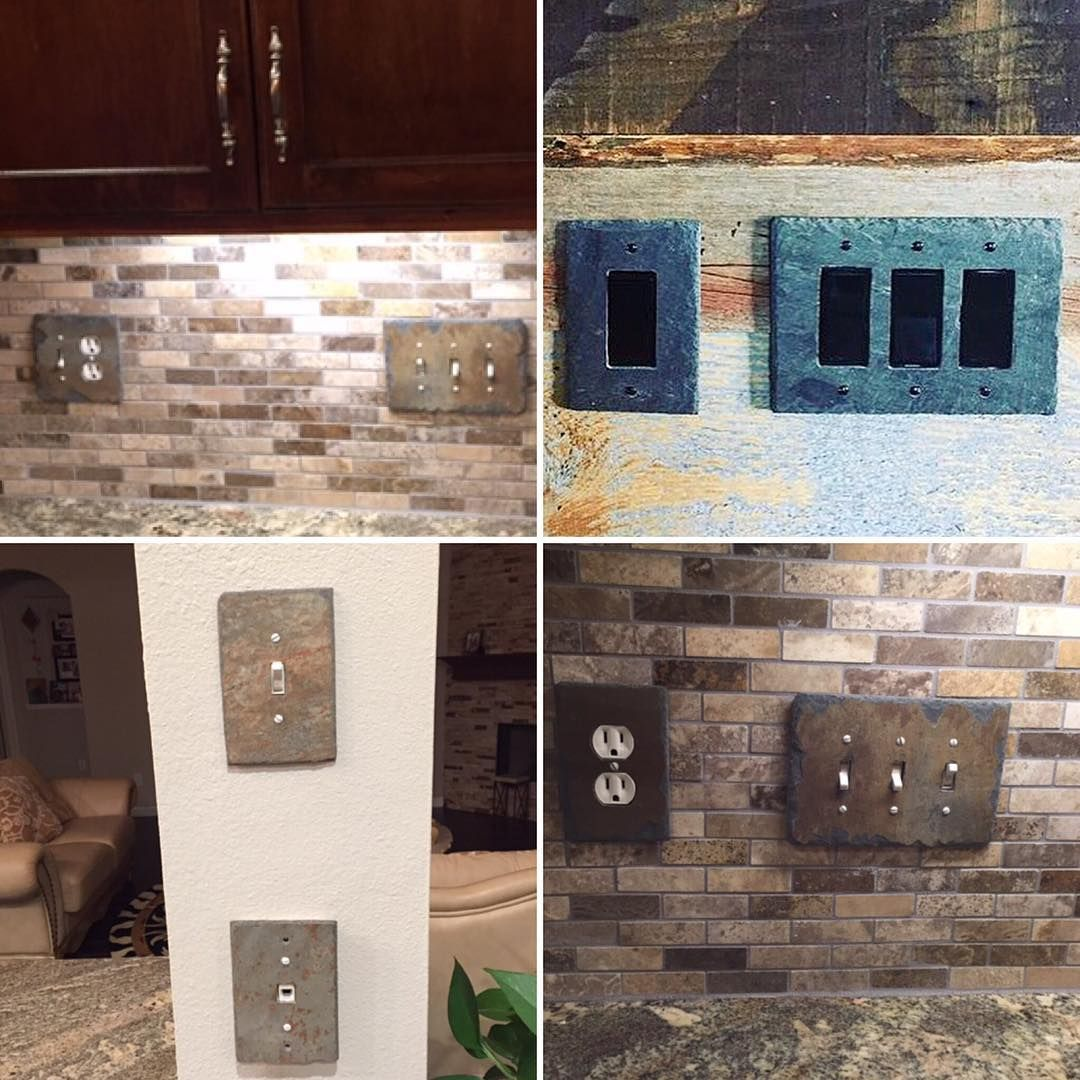 Vermontslateplates Com On Instagram Recycled Stone Light Switch And Outlet Covers By Www Vermontslateplates C Slate Backsplash Barn Board Wall Outlet Covers