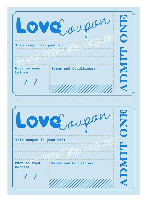 Printable Love Coupons Anniversary Birthday Gift Idea For Him Romantic Vouchers Instant Download