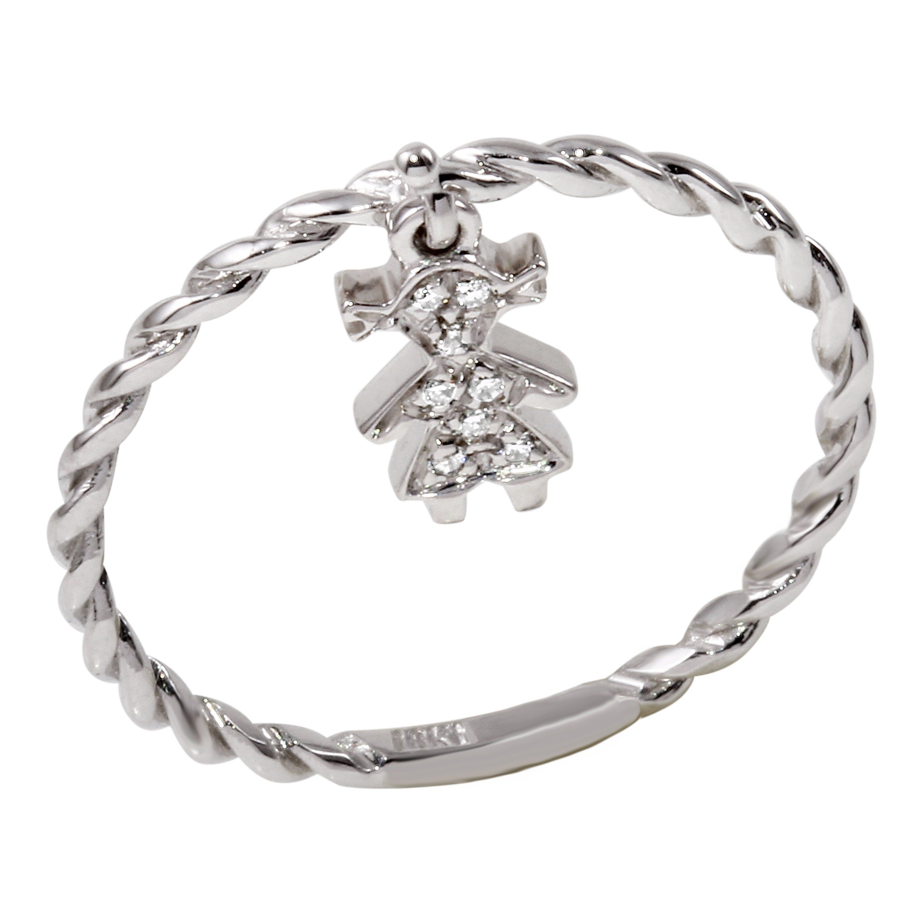 K white gold diamond girl charm ring size in products