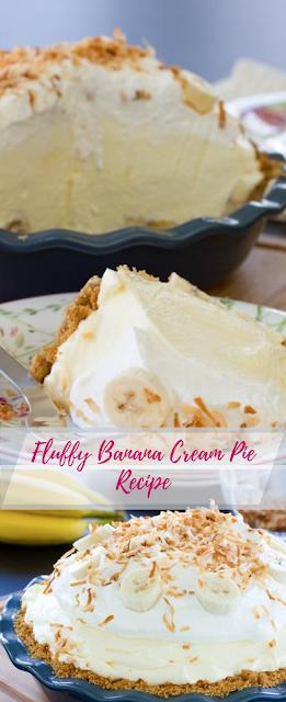Fluffy Banana Cream Pie Recipe #pierecipes #dessertfoodrecipes #banana #sugarcreampie