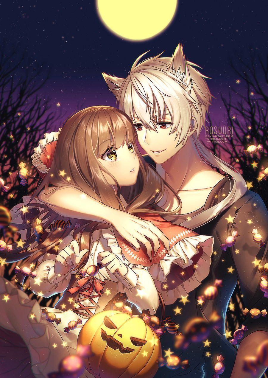 Halloween Anime Couple Drawing Wwwtopsimagescom