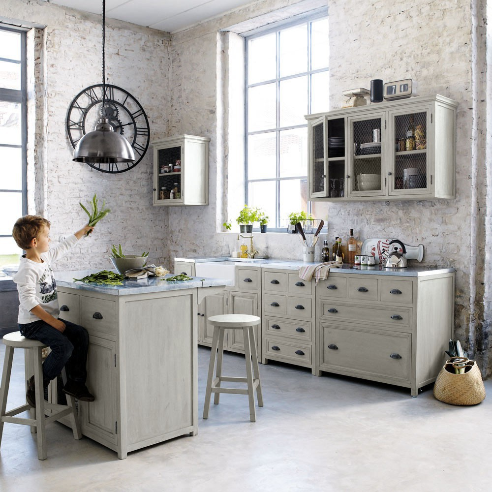 Best Grey Acacia Wood Kitchen Base Cabinet With Sink W120 400 x 300