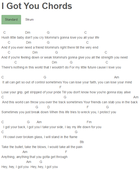 Lyrics I Got You