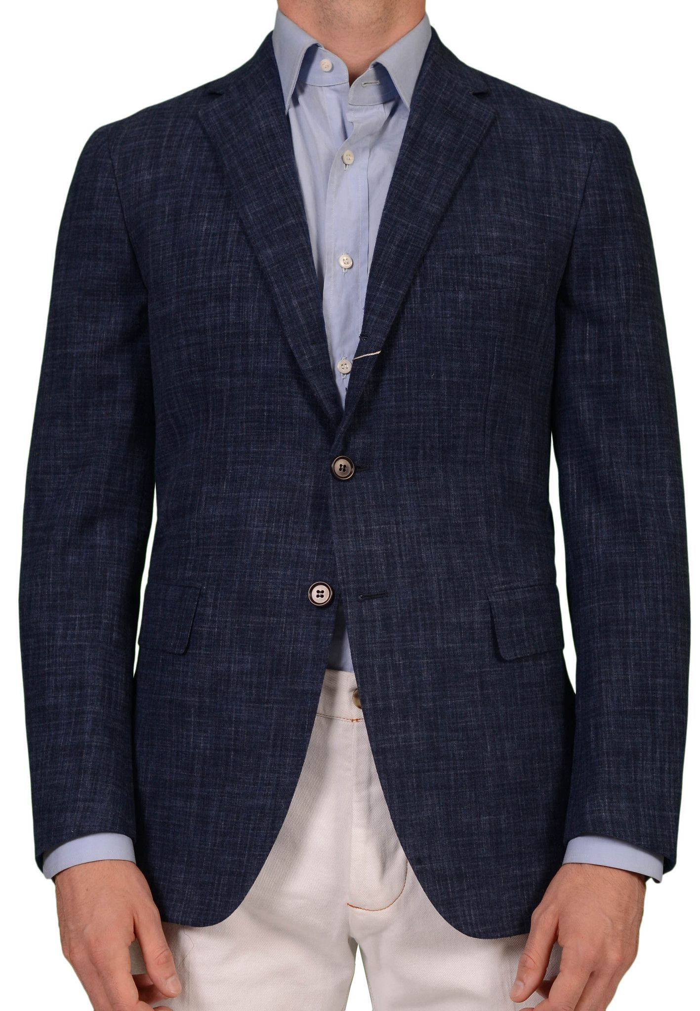 7e9a05ec5 Sartoria PARTENOPEA Hand Made Solid Blue Wool Flannel Blazer Jacket NEW R7