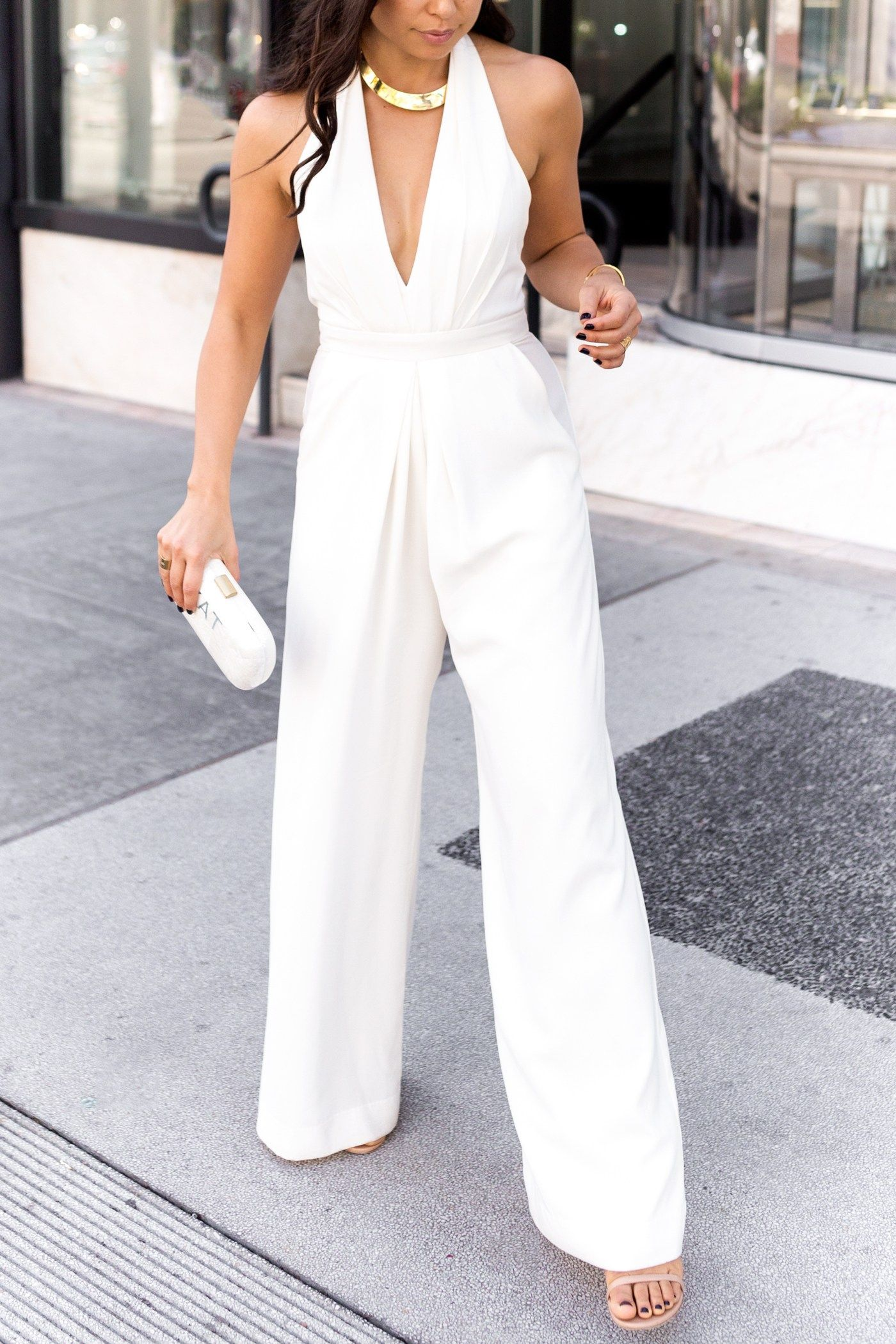 White Jumpsuit Wedding Look With Love From Kat White Jumpsuit Wedding Rehersal Dinner Dresses Bridal Shower Outfit