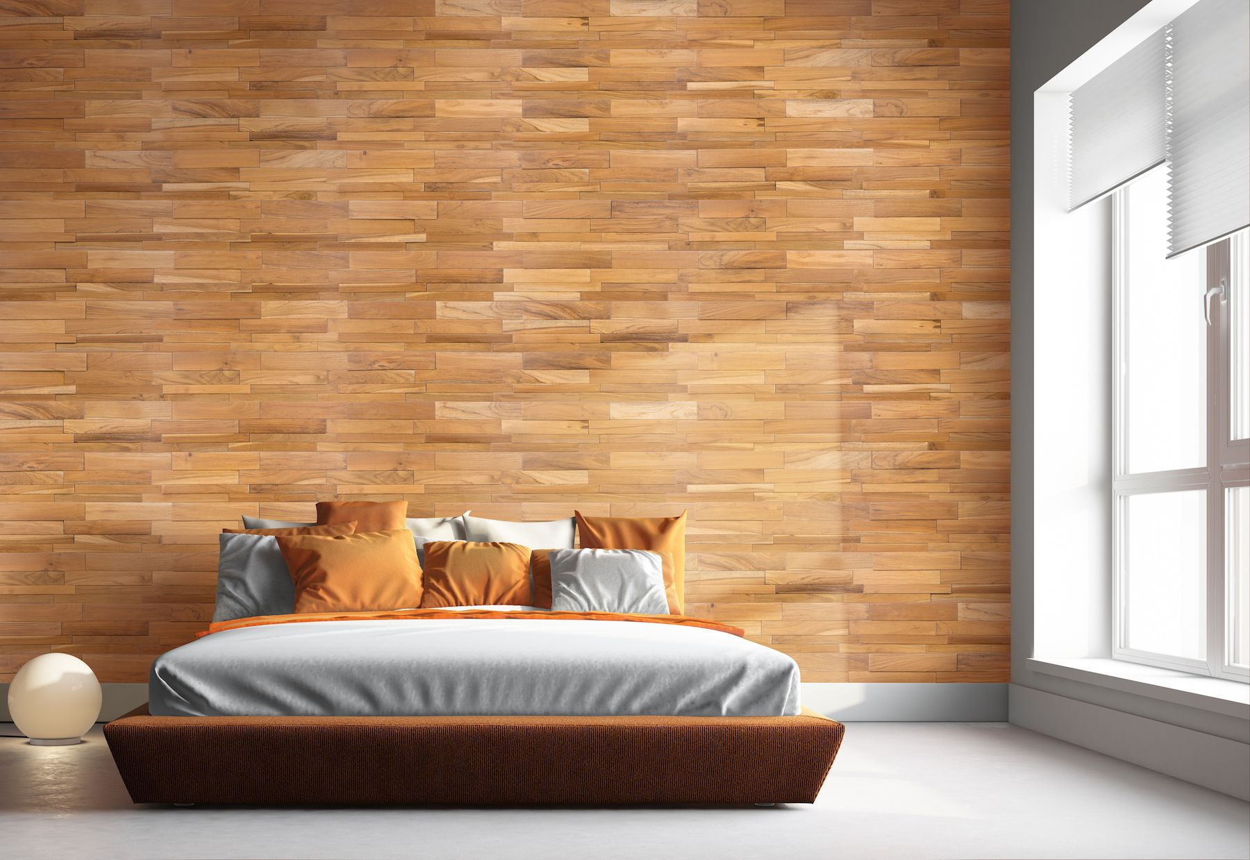 Indonesian Teak Wood Wall Cladding In Smooth Natural Finish Used On A Bedroom Wall Diy Freindly Easy To Install Usin Wood Wall Tiles Wall Cladding Wood Wall