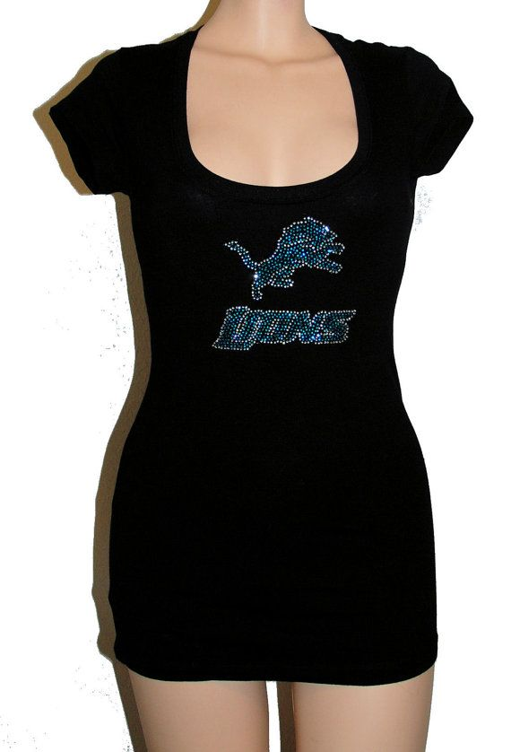 timeless design b7132 d0870 Sexy black Detroit Lions Rhinestone Bling Stretchy by ...