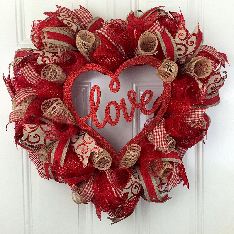 Valentine Wreath Part - 19: Love Wreath, Valentineu0027s Wreath, Valentines Heart Wreath, Valentineu0027s Heart  Wreath, Heart Deco Mesh Wreath, Valentineu0027s Deco Mesh Wreath
